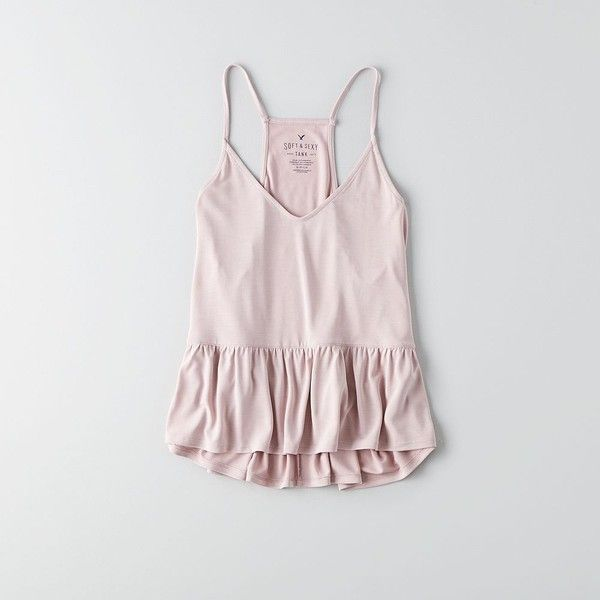 AEO Soft & Sexy Babydoll Tank ($25) ❤ liked on Polyvore featuring light pink and american eagle outfitters