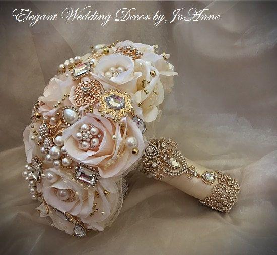 Rosa ramo de broche de oro, depósito único, rosa y oro joya Bouquet, ramo de oro rosa, Blush y marfil Bouquet, Bouquet romántico