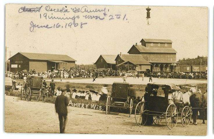 RPPC BASEBALL Game by the Railroad Depot AMERY WI Vintage