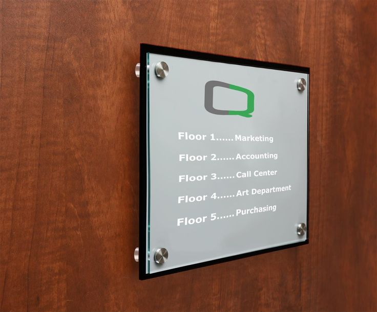 8.5 x11 Office Door Sign w/ Acrylic Plates, Standoffs & Film - Clear & Black