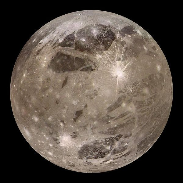 Ganymede (5,262 km), a moon of Jupiter and the largest moon in the Solar System (larger even than Mercury)