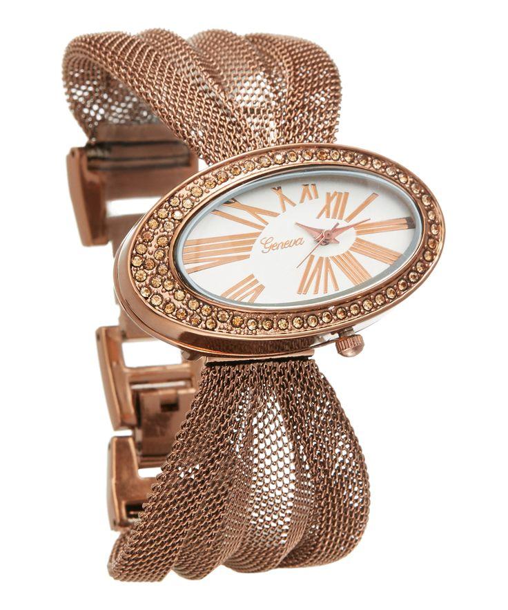 Bronze Asymmetrical Mesh-Band Bracelet Watch
