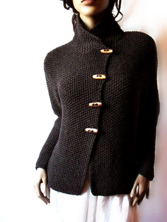 Women's Knit Jacket Merino Wool Cardigan Hand Knit Sweater Coat