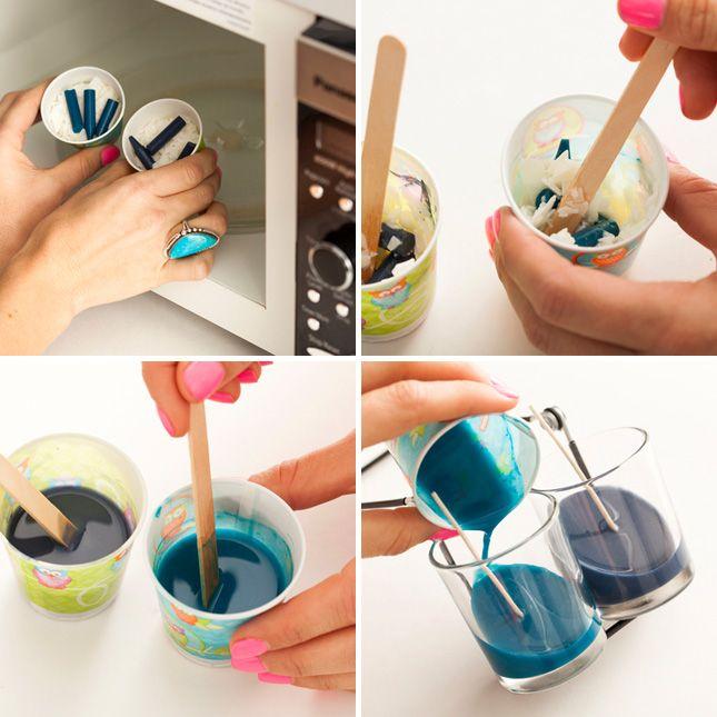 Un semplice tutorial per creare delle moderne e coloratissime candele con i pastelli a cera inutilizzati! Sbizzarritevi creando tante combinazioni di colore