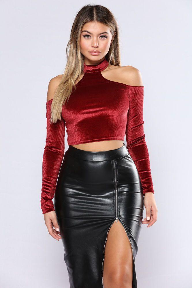 b7510c4f727 Fashion Nova Sexy His Main Lady Velvet Crop Top- Burgundy Red Size Small
