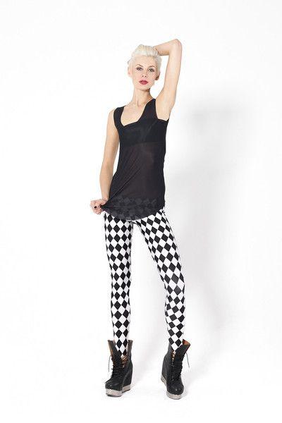 Monochromatic Jester Leggings › Black Milk Clothing