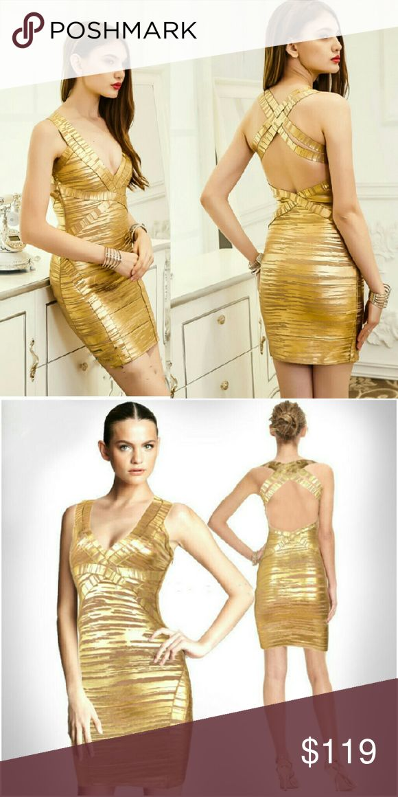 Ace of Spades Metallic Gold Bandage Dress Ace of Spades Metallic Gold Bandage Dress  The Ace of Spades metallic foil gold bandage dress is your pop the champagne dress for the new year! Wearing gold into the New Year is symbolic for wealth!   Will fit the following body frames comfortably:  Size S - 0-2  Size L - 4-6   Approx Length bust to hem: 32 cm   Made with 100% Authentic Bandage Material The Fabric of Celebrities : 90% Rayon 9% Nylon 1% Spandex #allgolddress #wardrobechanges Wardrobe…