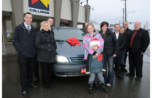 Tara Patrick, winner of the 2012 Chilliwack Times Fix Auto Christmas Car Giveaway poses with local business donors.