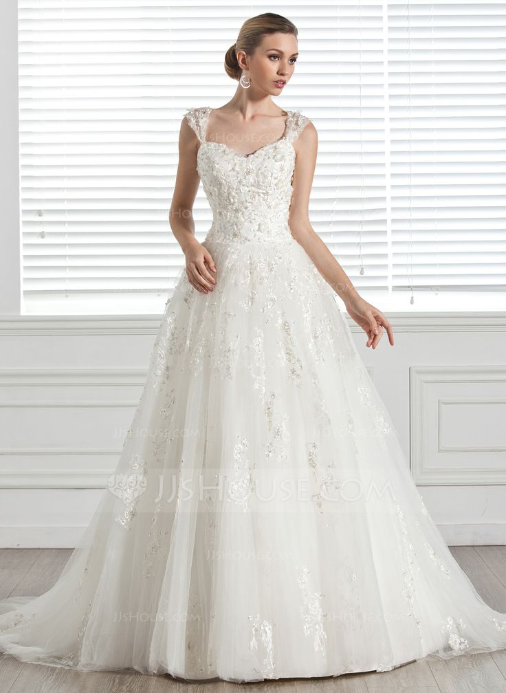 Ball-Gown Sweetheart Court Train Beading Appliques Lace Flower(s) Zipper Up Cap Straps Sleeveless Church General Plus No Spring Ivory Tulle Wedding Dress