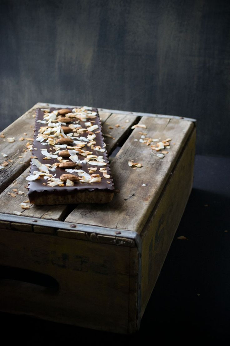 no-bake chocOlate tart with almond crust & toasted coconut