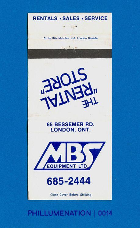 "#Phillumenation 0014 : MBS Equipment Ltd.   The ""Rental Store""   London, Ontario, Canada"