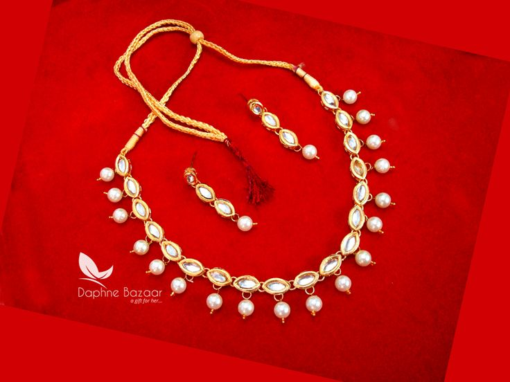 NC17, Traditional Pearl Kundan Necklace Set with Earrings, for Women