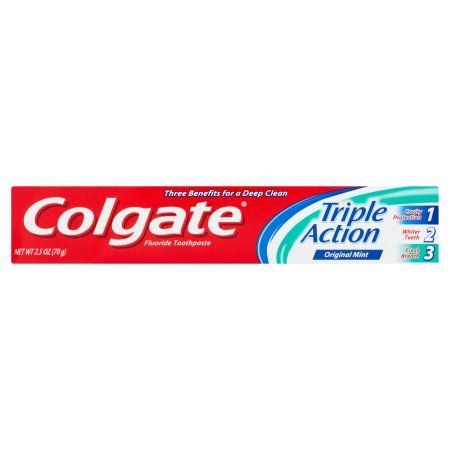Colgate Triple Action Original Mint Flouride Toothpaste, 2.5 oz, Multicolor