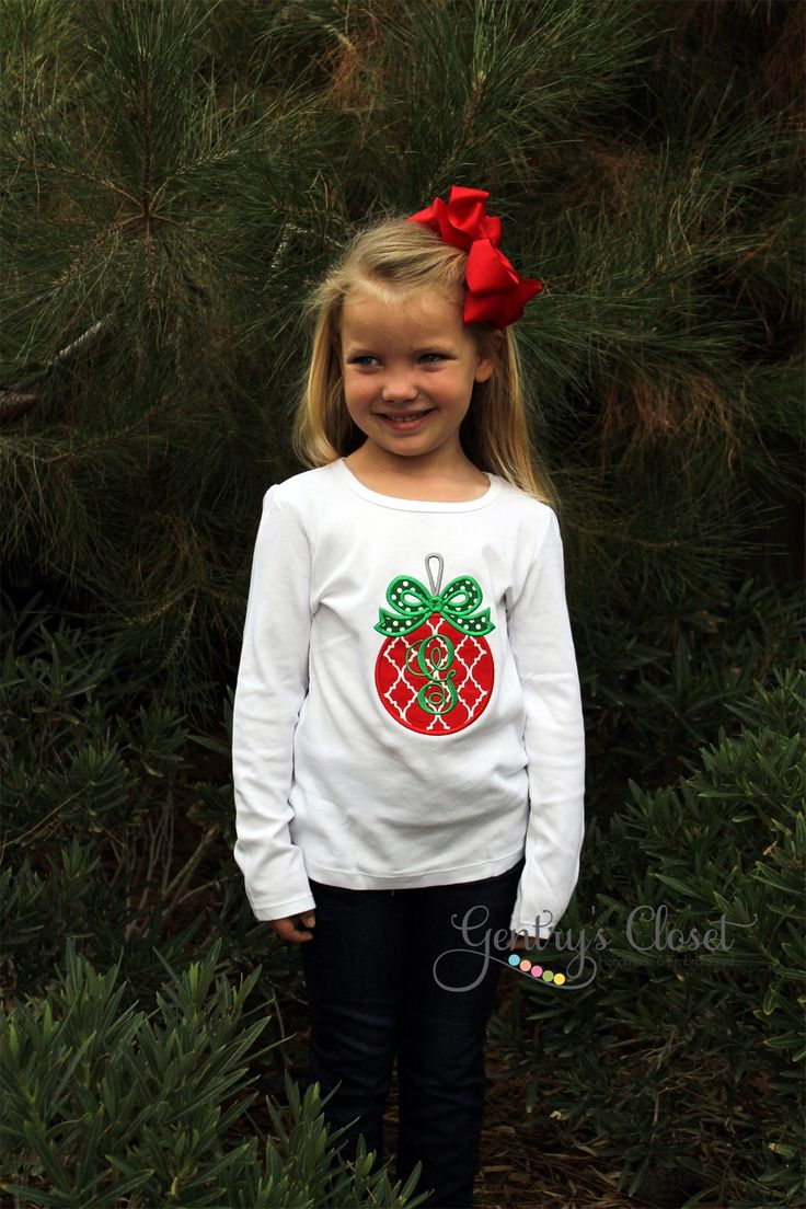 Red & Green Ornament Tee | Gentry's Closet | $24 | Click link to shop: http://gentryscloset.com/collections/christmas/products/red-green-christmas-ornament-shirt-or-infant-bodysuit-cute-christmas-outfit-for-baby-girl-monogrammed-xmas-clothes-shirt-with-monogram