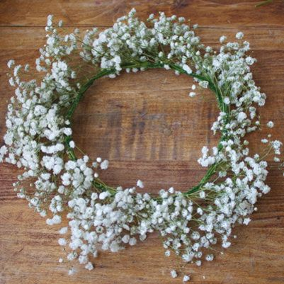 DIY: Babys Breath Hair Wreath for whimsical baby shower.