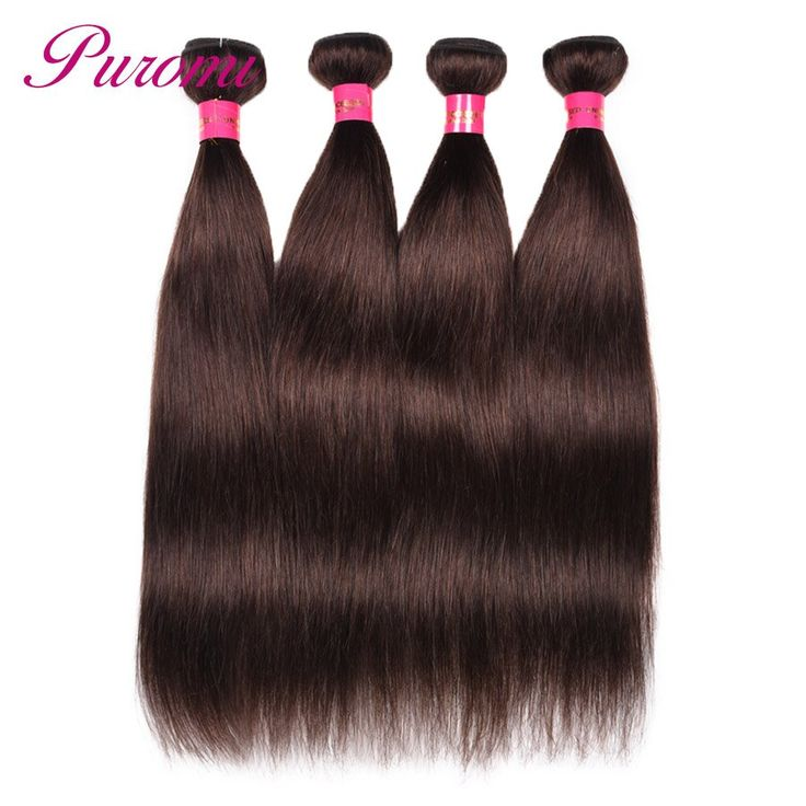 Puromi Peruvian Straight Hair 4 Bundles Pure Color 2# Double Weft Non Remy 100% Human Hair Weave Free Shipping 10-26 Inches