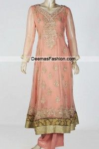 latest pakistani fashion peach anarkali pishwas