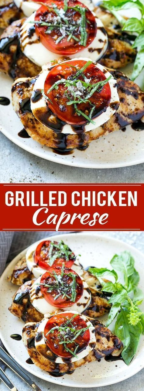 This recipe for chicken caprese is grilled seasoned chicken, topped with fresh mozzarella, ripe tomatoes, basil and balsamic reduction. A quick and easy dinner that's easy enough for a busy weeknight but special enough to serve to company! #grillingrecipes