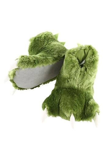3d49ced2bf5 Green Dino Paw Child Slippers Dino