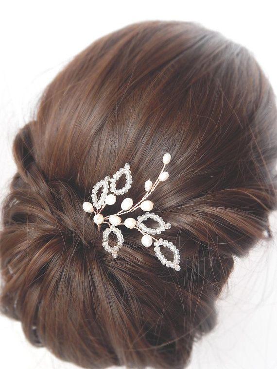 Bridal rose gold hairpin | Bridal hairpins, Wedding rose gold hairpiece, Rose gold comb, Pearls hair vine, Pearl hairpiece, Wedding hair pin