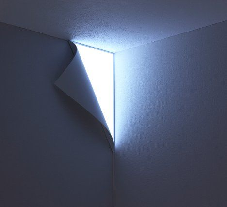 corner lamp that looks like you're peeling away the wall