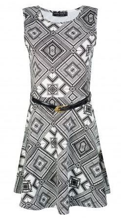Geo Aztec Belted Skater Dress   #2014 #fashion http://www.selectfashion.co.uk/clothing/s039-0405-18_mono.html