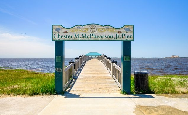 Gulf coast beach in Ocean Springs, Mississippi