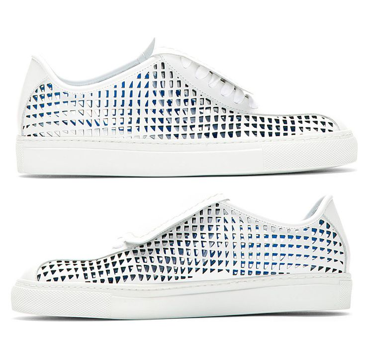 Low-top leather sneakers in white. Laser-cut detailing throughout. Round toe. Tonal lace-up closure. Designed by Jil Sander. http://zocko.it/LEWui