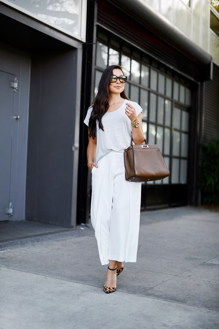 White silk trousers.