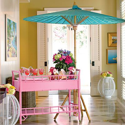 """Lilly Pulitzer-Inspired Luncheon   Go All Out with Color   """"We have a saying in my business—go big or go home!"""" says Dana. """"I love to use bright and bold color combinations when I'm entertaining. This party, inspired by the great Lilly Pulitzer, reflects the preppiest combo of pink and green. I also added a splash of turquoise to coordinate with the colors of my home's interiors."""""""