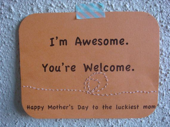 Funny Mother's Day Card EcoFriendly peach by CraftColorfully, $3.75