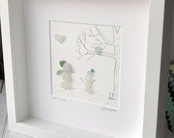 Snowmen picture, sea glass art, Christmas picture, Christmas decor, sea glass picture, Christmas snowmen, Christmas gift, gift for mum