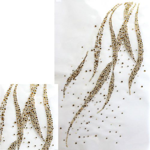 Rhinestone Iron on Transfer Hot Fix Motif Gold Wave Deco Fashion Design | eBay
