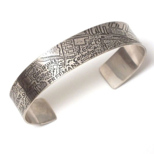 Auckland Harbour Etched Silver Cuff