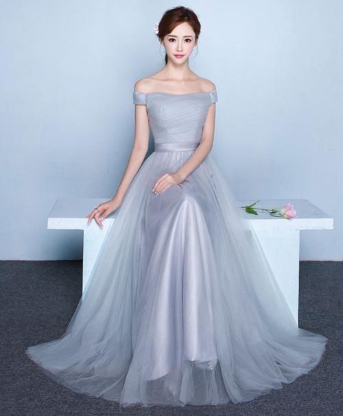 Elegant tulle off shoulder long prom dress, formal dress