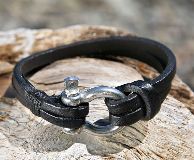 Black+Leather+Bracelet+with+a+Nautical+Grade+Omega+Shackle+Clasp more awesome bracelets here http://www.forthemanilove.com/oz-wrist-gear.html