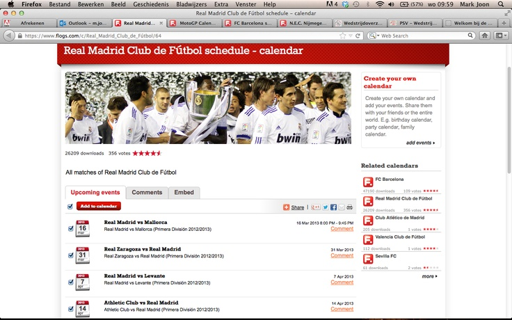 Real Madrid Calendar:  Service your fans with an always up-to-date sport and event calendar. For more information: www.worldsportscompany.com/products/