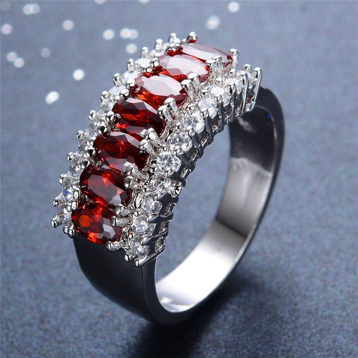 Luxury Red CZ Diamond Ring
