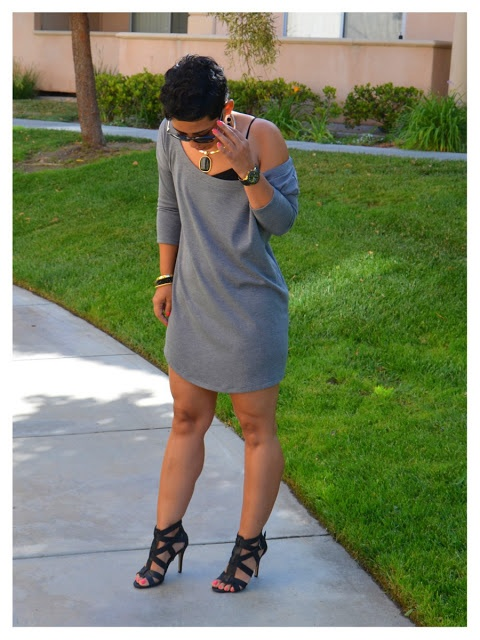 Mimi G - Wearing: MimiG DIY Pullover Dress and Aldo Heeled Sandals. Love her!
