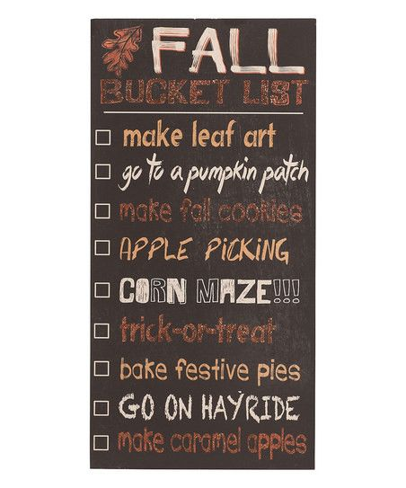 It's never too early to make a list! Hang or prop this chalkboard-style sign with permanent lettering (and a metal stand on back) and fill your home with harvest spirit. Glitter colors against a distr