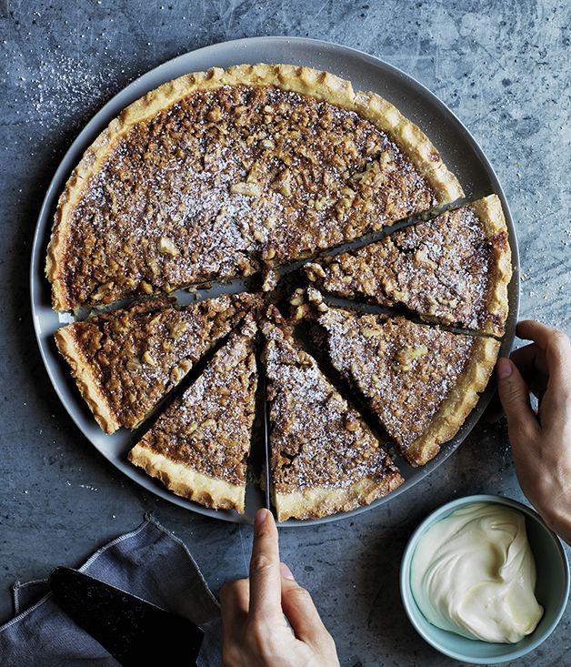 Walnut, whiskey and salted caramel pie :: Gourmet Traveller