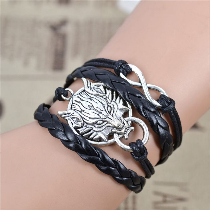 Jiayiqi handmade infinity lupo nero del tessuto della cera in pelle corda braccialetto di amicizia migliore regalo ib516