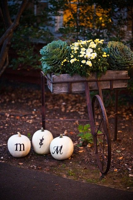 CUTE IDEA WITH THE WHITE MONOGRAMMED PUMPKINS..COULD SWITCH OUT TO YOUR COLOR FLOWERS IN CART