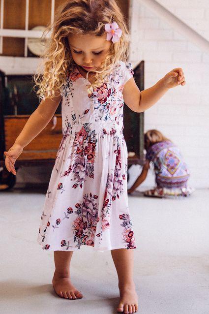 Meika Birthday Dress Meika Rose White - Arnhem Clothing-floral girls dress. little girls boho style so cute