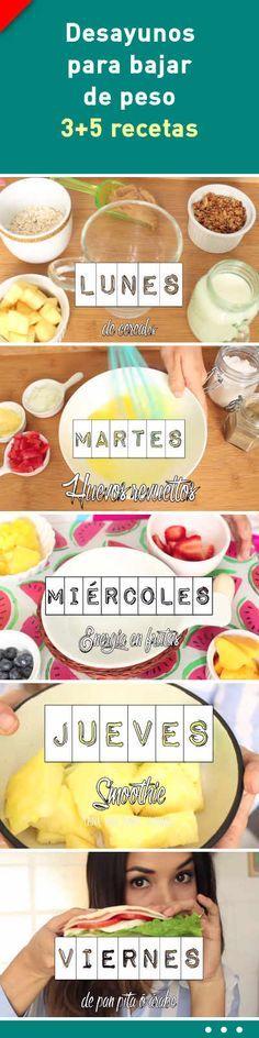 Desayunos para bajar de peso. 3+5 recetas #desayuno #bajardepeso #recetas #adelgazar