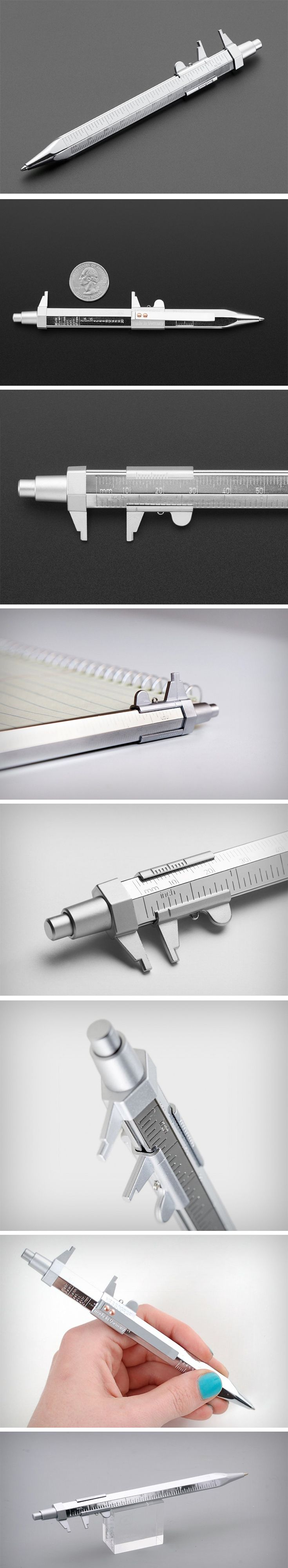 For the perfectionist at heart, or a designer who loves their numbers (design engineers, I'm looking at you!), the Messograf pen does something no other writing instrument does. It puts a pretty capable caliper ruler on a pen! With the ability to give you measurements up to the 100th of a millimeter, thanks to its vernier scale that slides up and down the chromium-plated brass body of the pen. BUY NOW!