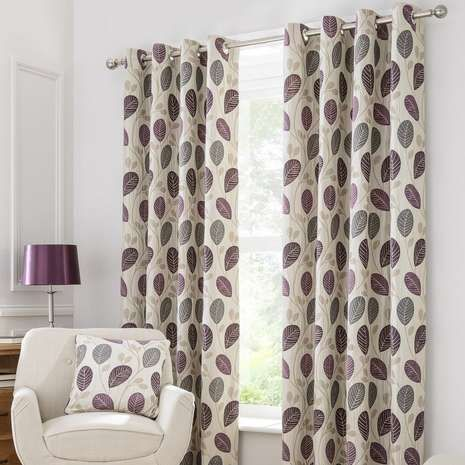 Available in a selection of widths and drop lengths, these eyelet curtains are designed with a purple leaf pattern on a natural background and fully lined to re...