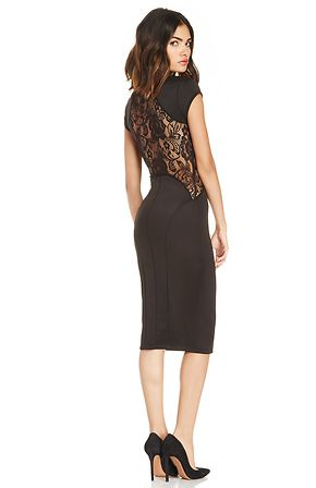 Attend that black tie affair wearing our Lovely Lace Midi Dress. This sleek bodycon features cap sleeves, a lace trim at the yoke, hip, and back. Perfect for a small bust figure, complete your look with a cocktail ring and closed toe pumps for an elegant evening.