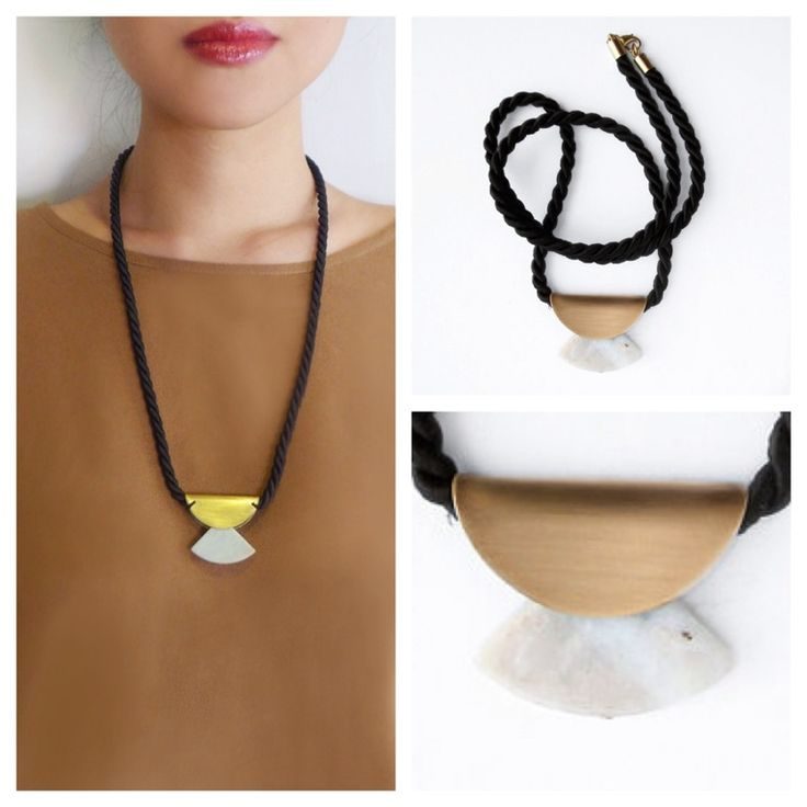 Black silk rope necklace with gold plated brass and Ivory Marble