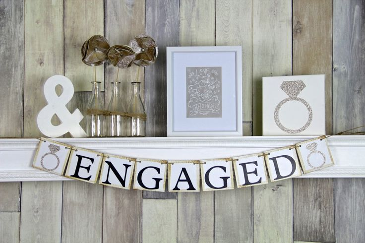 Engaged Banner, Engagment Banner, Engagement Bunting, Bridal Shower Banner, Engagement Prop by WeddingBannerLove on Etsy https://www.etsy.com/listing/104932230/engaged-banner-engagment-banner